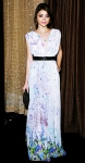 Sarah Hyland in a floral WTB dress and Lauren Merkin clutch at the 2011 Costume Designers Awards