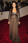 Alicia Keys in a brown Givenchy gown & a leather jacket