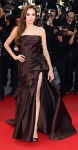 Angelina Jolie in a chocolate Atelier Versace fown with Ferragamo heels