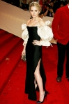 Ashley Olsen in a vintage Christian Dior black & cream billowed sleeves gown