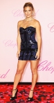 Bar Rafaeli in a navy & black sequined Roberto Cavalli mini dress with jewelry by Chopard