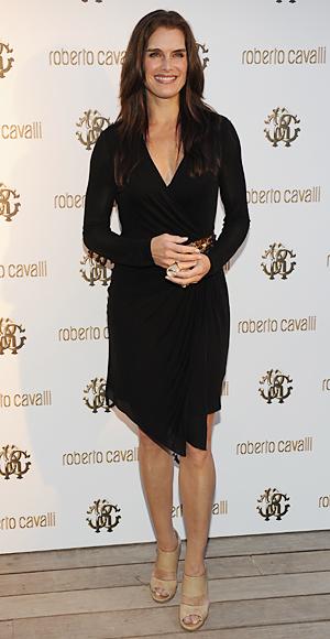 Brooke Shields in a black wrap dress &amp nude heels | Style Darling
