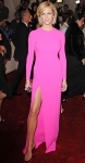 Brooklyn Decker in a hot pink Michael Kors long sleeved gown wih a slit & House of Lavande vintage jewelry
