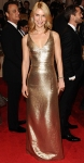 Claire Danes in a gold Calvin Klein Collection gown