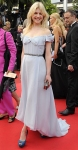 Clemence Poesy in a sky blue muslin Yves Saint Laurent gown