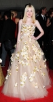 Dakota Fanning in a floral tulle Valentino gown
