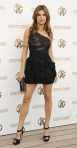 Elisabetta Canalis in a black one-shoulder mini dress