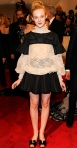 Elle Fanning in a cream lace Valentino look with Valentino heels