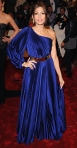 Eva Mendes in a cobalt pleated Stella McCartney metallic belted gown
