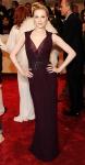 Evan Rachel Woof in a burgundy Gucci Premiere gown