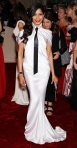 Freida Pinto in an ivor silk Chanel couture gown with Chopard jewelry & Dana Davis heels