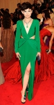 Ginnifer Goodwin in an emerald silk twist-front Topshop gown