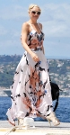 Gwen Stefani in a floral printed top & maxi skirt by A.L.C.