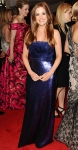 Isla Fisher in a royal blue shimmery Tory Burch dress with House of Lavande jewelry