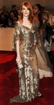 Karen Elson in a silver embroidered chiffon Alexander McQueen dress