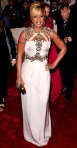 Mary J. Blige in a white & gold encrusted Gucci harness dress