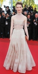 Mia Wasikowska in a lacey Valentino couture dress & a satin clutch