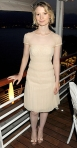 Mia Wasikowska in a silk cream Philosophy di Alberta Ferretti dress with peep toe pumps