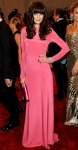 Michelle Monaghan in a bubblegum long sleeved Derek Lam dress with a Roger Vivier clutch & shoes