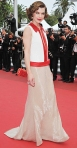 Milla Jovovich in a shimmering Prada gown with a Sergio Rossi shoulder bag