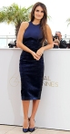 Penelope Cruz in a blue velvet Stella McCartney pencil dress with matching satin pumps