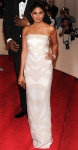 Rachel Roy in her own cream chevron print gown & Harry Winston earrings