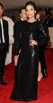 Rosario Dawson in a black sequined Diane von Furstenberg column dress