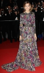 Sarah Jessica Parker in a printed Elie Saab long sleeved gown with black Rene Caovilla platforms & Swarovski crystals