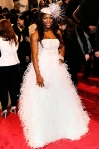 Serena Williams in a feathered Oscar de la Renta gown
