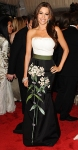 Sofia Vergara in a floral printed Carolina Herrera belted strapless gown