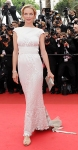 Uma Thurman in a white embellished Chanel gown & Chopard bracelet