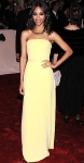 Zoe Saldana in a sunny yellow Calvin Klein Collection belted column gown