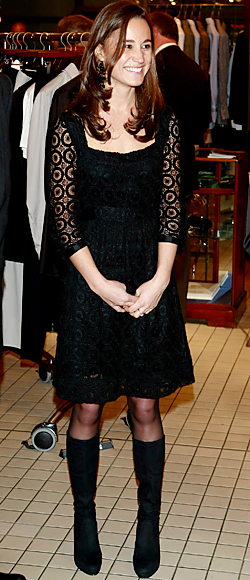 Pippa Middleton in a black lace dress with black suede boots ...