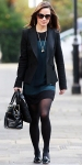 Pippa Middleton in a blue & black French Connection dress with a blazer & black patent leather tassled loafers