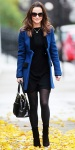 Pippa Middleton in a blue Sara Berman velvet trim jacket over an LBD with black suede booties & her Modalu black bag