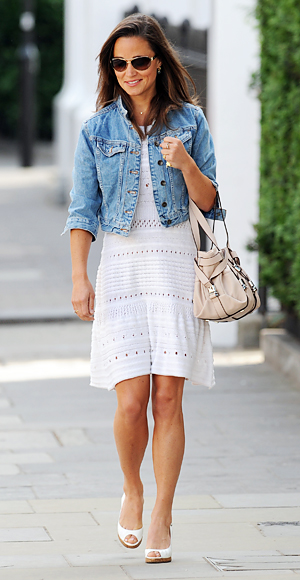 Pippa Middleton in a crochet white dress with a cropped denim