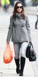 Pippa Middleton in a gray funnel coat with a Modalu bag, knee high black boots, sunglasses, & light denim jeans