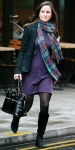 Pippa Middleton in a purple dress, tartan check scarf, blazer, & black suede boots with her top handle Modalu bag