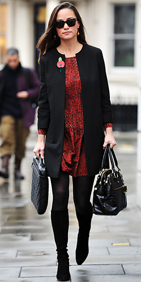 cf813d3e222 Pippa Middleton in a red animal print Zara dress with a collarless coat    knee high boots