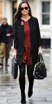 Pippa Middleton in a red animal print Zara dress with a collarless coat & knee high boots