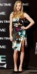 Amanda Seyfried in a watercolor Michael Angel sheath dress with Lanvin pumps