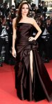 Angelina Jolie in a chocolate high-slit Versace gown