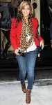 Beyonce Knowles in a red blazer with an Alexander McQueen leopard scarf, skinny jeans, & Alain Quilci booties