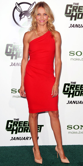 Cameron Diaz in a poppy one-shoulder Azzaro dress with C. Greene ...