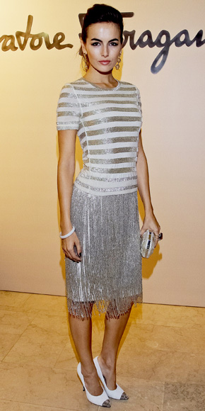 Camilla Belle in a Salvatore Ferragamo flapper-inspired dress with matching cap-toe pumps