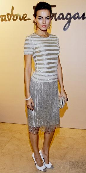 Camilla Belle in a Salvatore Ferragamo flapper-inspired dress with matching cap-toe pumps