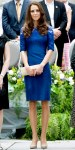 Catherine Middleton in a cobalt embroidered sheath dress by Erdem