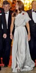 Catherine Middleton in a draped silver Jenny Packham gown with silver platforms