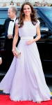 Catherine Middleton in a pastel belted Alexander McQueen dress with Jimmy Choo accessories