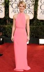 Claire Danes in a neon silk gown by Calvin Klein collection